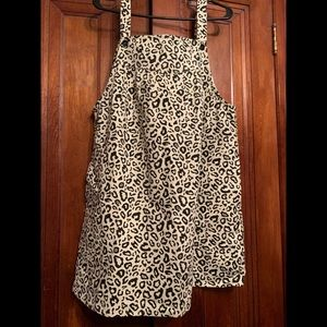 Animal print overall dress with pockets . Large
